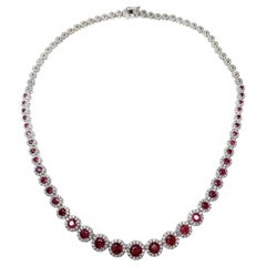 Ethonica Halo Collection Ruby and Diamond Tennis Necklace in 18 Karat Gold