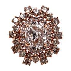 Ethonica Magnificent Ballerina Oval Diamond Ring in 14 Karat Rose Gold