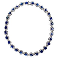 Ethonica Midnight Blue Sapphire and Diamond Cluster Necklace in 18 Karat Gold
