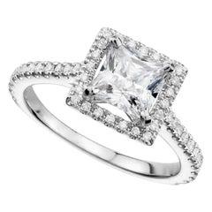 Ethonica Princess Cut Halo Diamond Engagement Ring in 14 Karat Gold