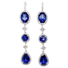 Ethonica Royal Blue Sapphire and Diamond Dangle Earrings in 18 Karat Gold