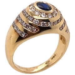Ethonica Sapphire and Diamond Dome Ring in 14 Karat Gold