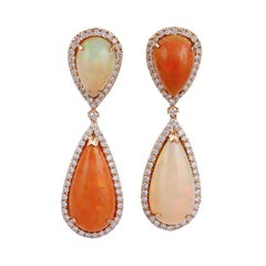 Ethopian Natural Opal and Diamond Dangle Earrings, Set in 18 Karat Yellow Gold