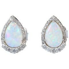 Ethopian Opal Diamond 18 Karat Gold Stud Earrings