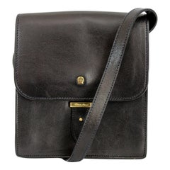 Etienne Aigner Black Letaher Little Shoulder Bag 1970s