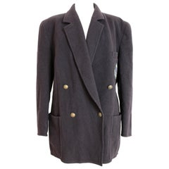 Etienne Aigner Blue Wool Oversize Double Breasted Jacket 1980s