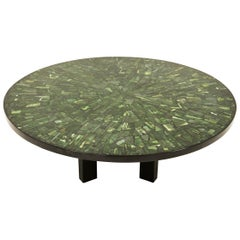 Etienne Allemeerch, Coffee Table in Resin with Jade Inclusions, circa 1975