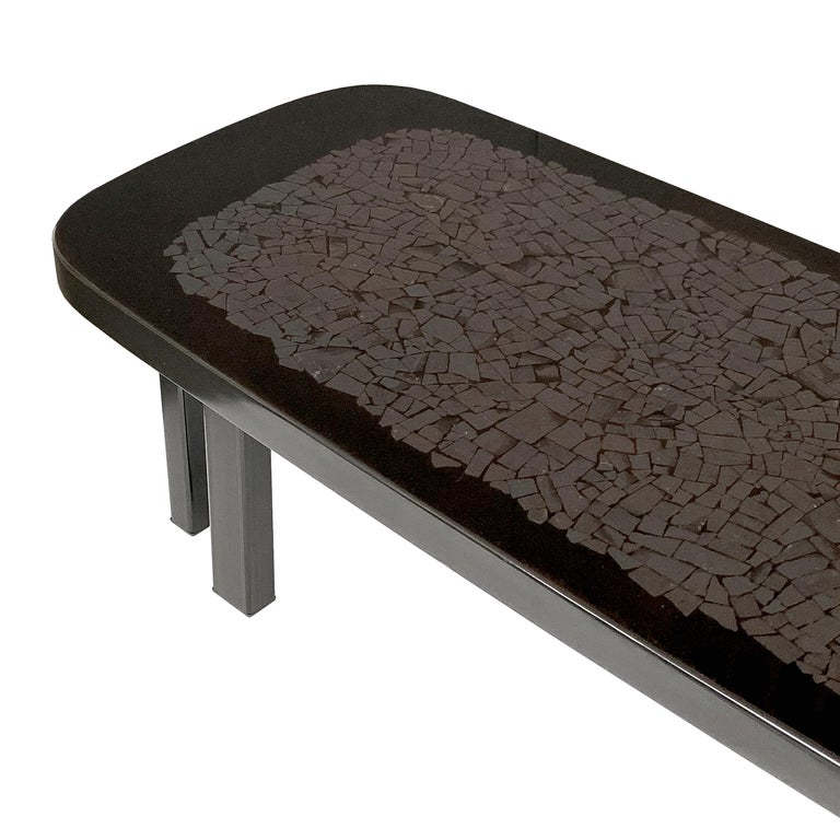 Late 20th Century Etienne Allemeersch Hematite Inlaid Coffee Table For Sale