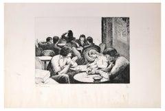 Personnes Attablées au Café - Etching and Drypoint by E. Bouchaud
