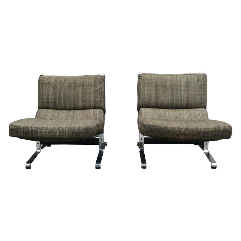 Etienne Fermigier, Pair of Lounge Chairs, circa 1965