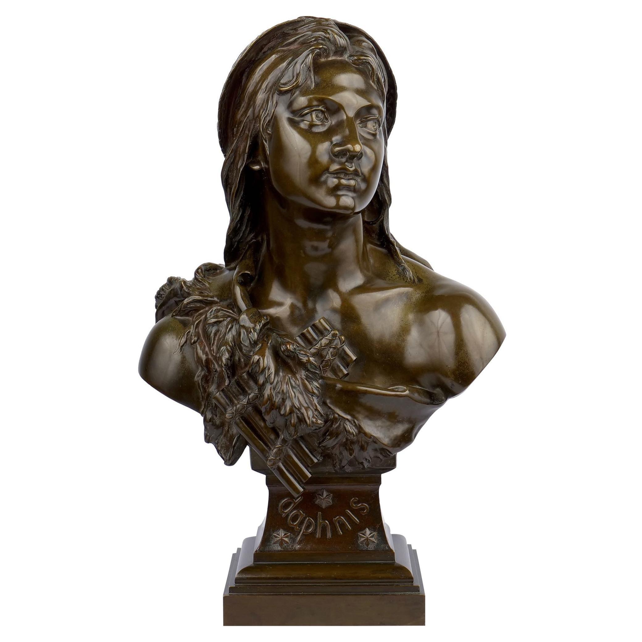 """Etienne Henri Dumaige Antique Bronze Sculpture Bust """"Daphnis"""""""