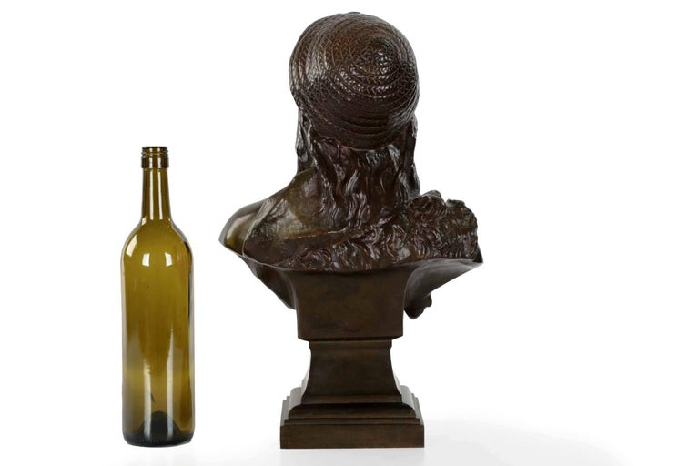 Romantic Etienne Henri Dumaige 'French, 1830-88' Antique Bronze Sculpture Bust