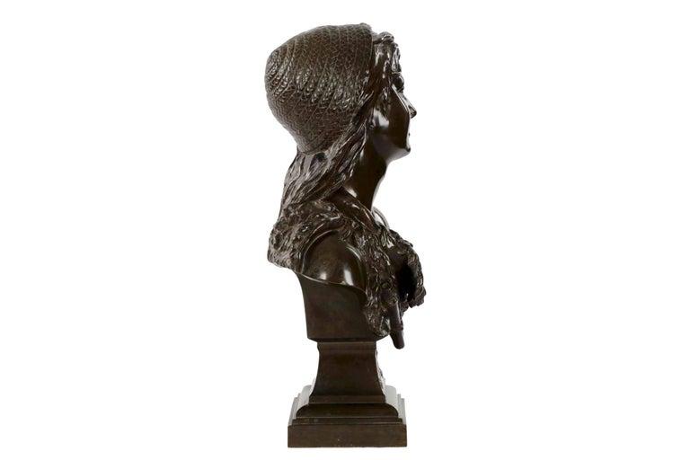 Patinated Etienne Henri Dumaige 'French, 1830-88' Antique Bronze Sculpture Bust