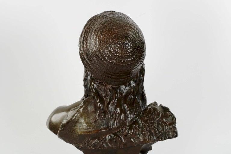 Etienne Henri Dumaige 'French, 1830-88' Antique Bronze Sculpture Bust