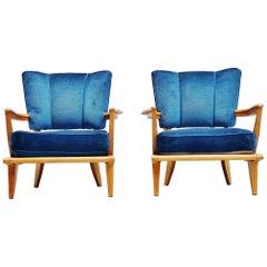 Etienne-Henri Martin SK40 Lounge Chairs Steiner 1952 Blue