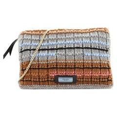 Etiquette Chain Flap Bag Cable Knit Wool Medium