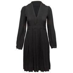 Etoile Isabel Marant Black Pleated Long Sleeve Dress