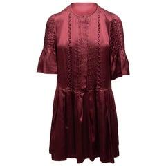 Etoile Isabel Marant Burgundy Silk Mini Dress