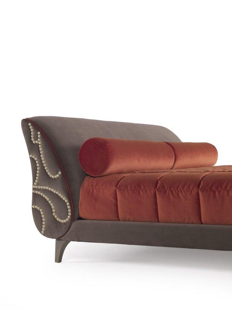 Italian Etro Agra Bed in Wood and Velvet For Sale