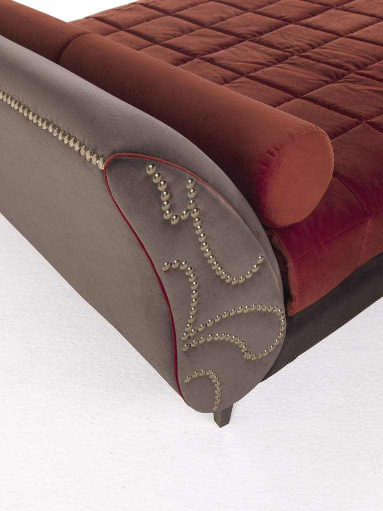 Contemporary Etro Agra Bed in Wood and Velvet For Sale