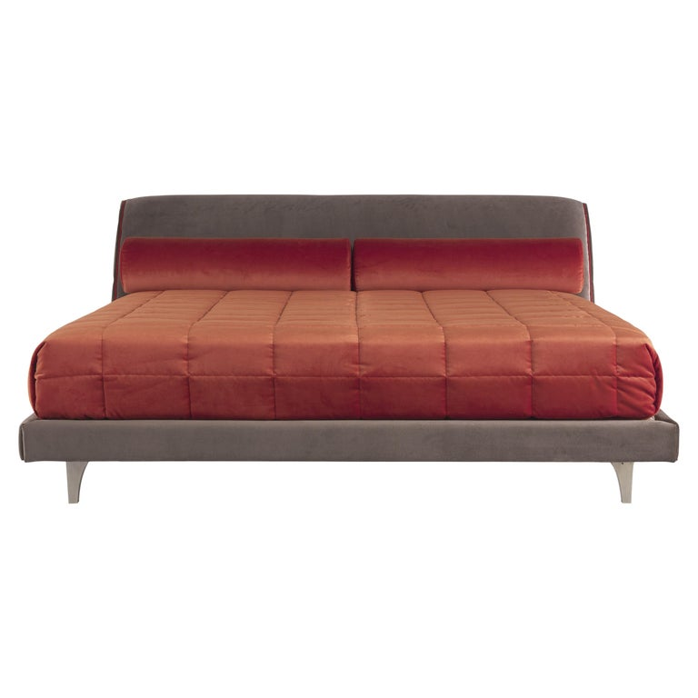 Etro Agra Bed in Wood and Velvet For Sale