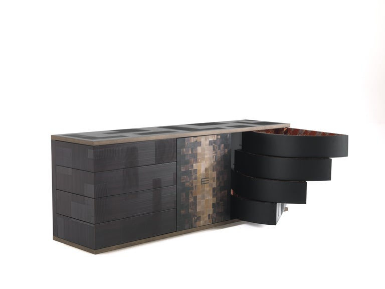 Modern Etro Aleppo Sideboard in Wood and Fabric For Sale