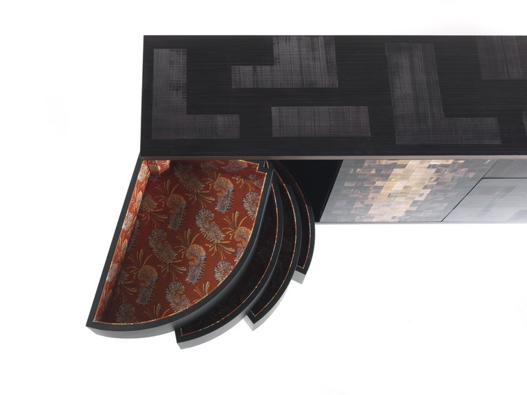 Contemporary Etro Aleppo Sideboard in Wood and Fabric For Sale