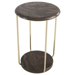 Etro Home Interiors Ambar Small Table in Dark Marble and Brass