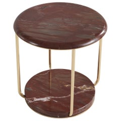 Etro Home Interiors Ambar Small Table in Red Marble and Brass