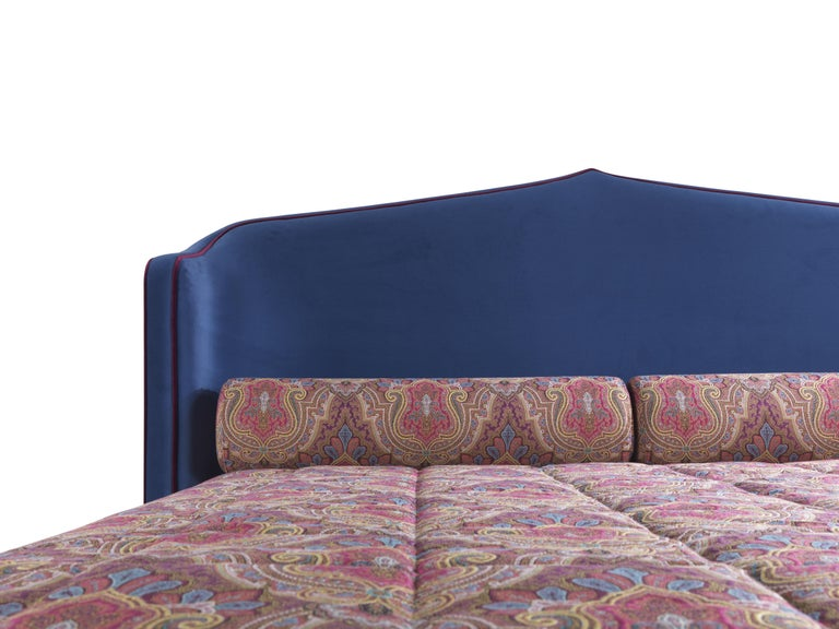 Modern Etro Amina Extra Large Bed in Wood and Velvet For Sale