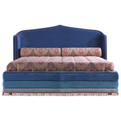 Etro Amina Extra Large Bed in Wood and Velvet