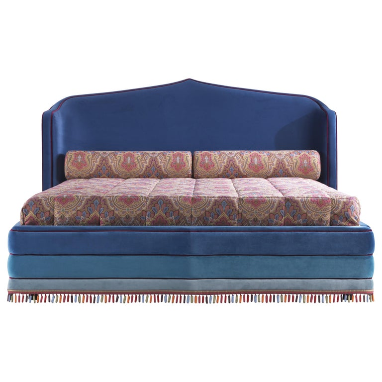 Etro Amina Extra Large Bed in Wood and Velvet For Sale