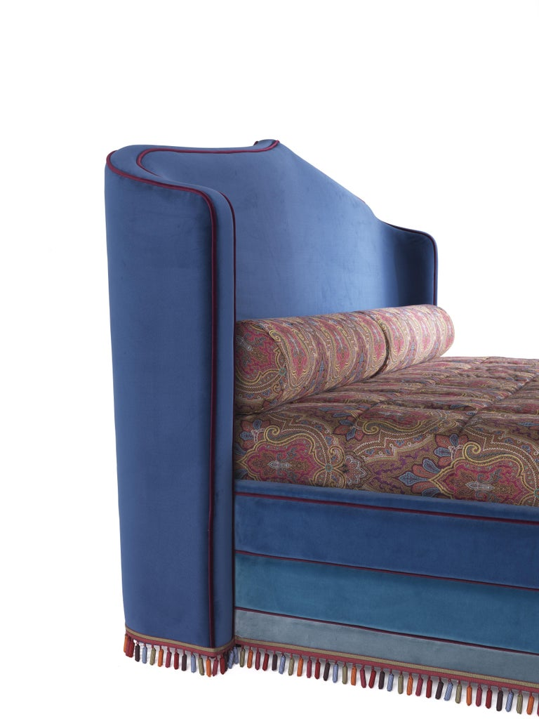 Italian Etro Amina Large Bed in Wood and Velvet For Sale