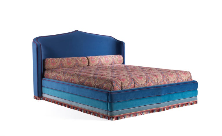 Etro Amina Large Bed in Wood and Velvet For Sale 1
