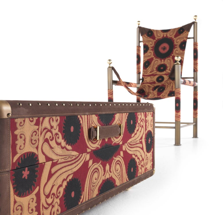 Etro Babel Foldable Travel Chair in Bukhara Fabric and Metal For Sale 4