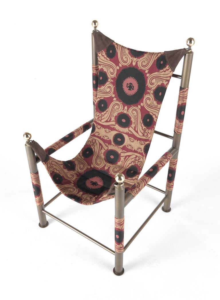 Etro Babel Foldable Travel Chair in Bukhara Fabric and Metal For Sale 5