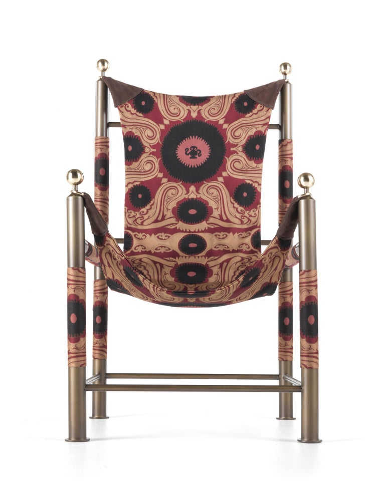 Etro Babel Foldable Travel Chair in Bukhara Fabric and Metal For Sale 6