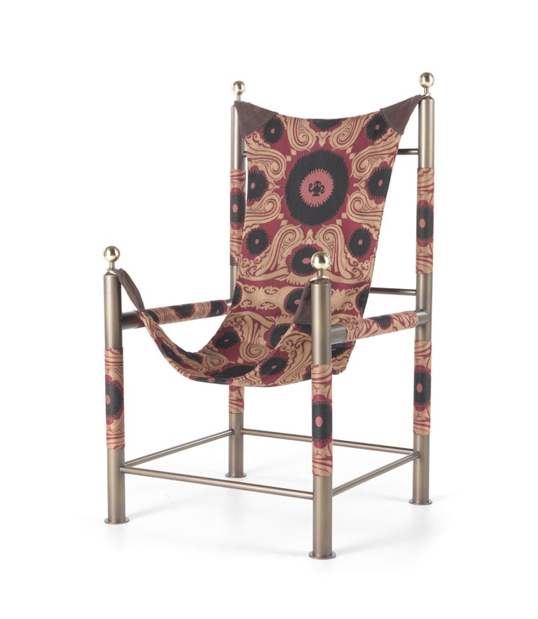 Etro Babel Foldable Travel Chair in Bukhara Fabric and Metal For Sale 7