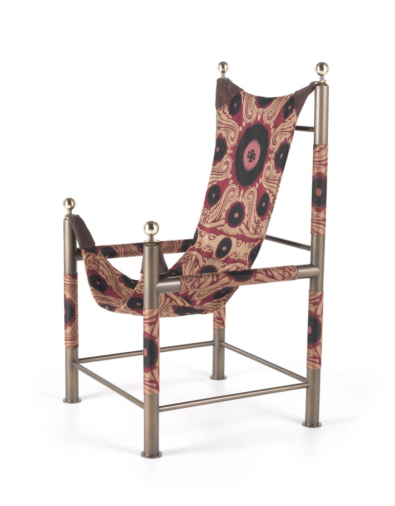 Etro Babel Foldable Travel Chair in Bukhara Fabric and Metal For Sale 8