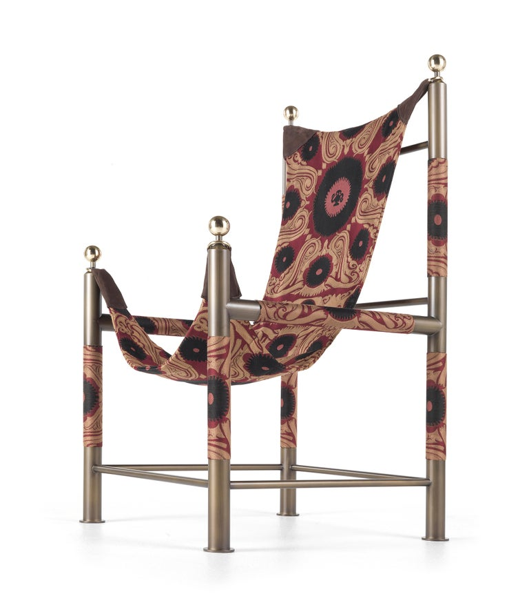 Etro Babel Foldable Travel Chair in Bukhara Fabric and Metal For Sale 9