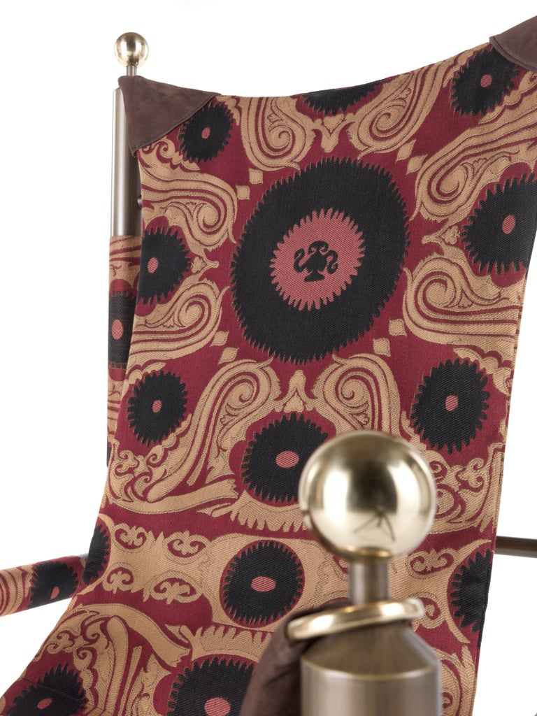 Etro Babel Foldable Travel Chair in Bukhara Fabric and Metal For Sale 12
