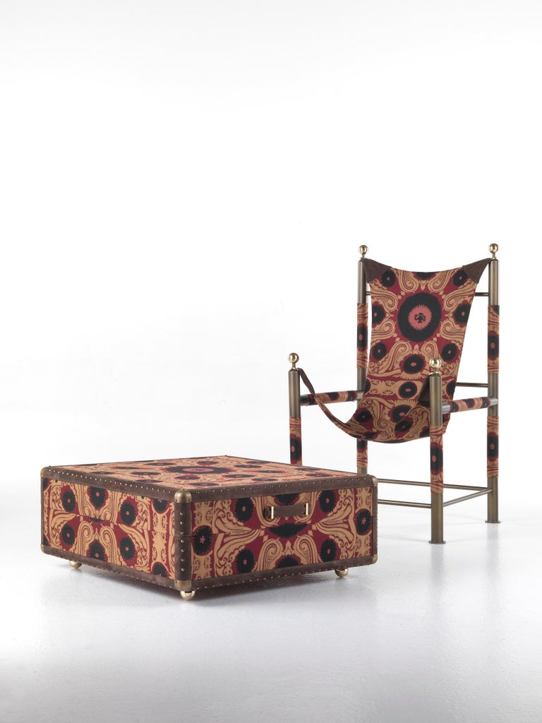 Etro Babel Foldable Travel Chair in Bukhara Fabric and Metal For Sale 13