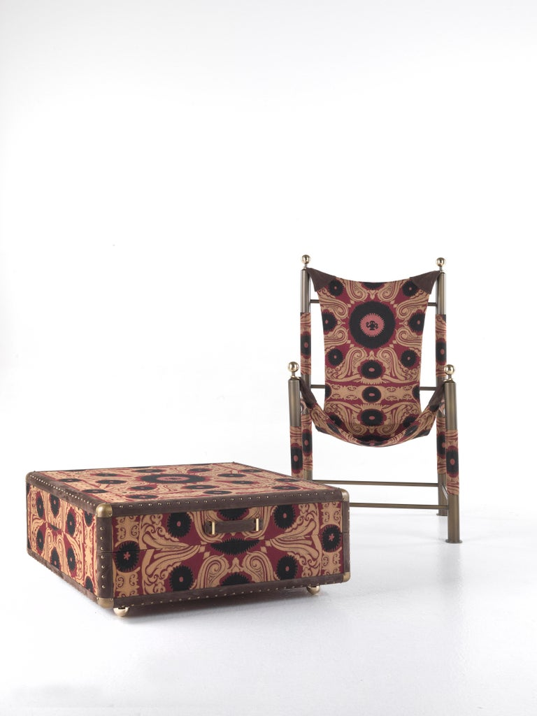 Etro Babel Foldable Travel Chair in Bukhara Fabric and Metal For Sale 14
