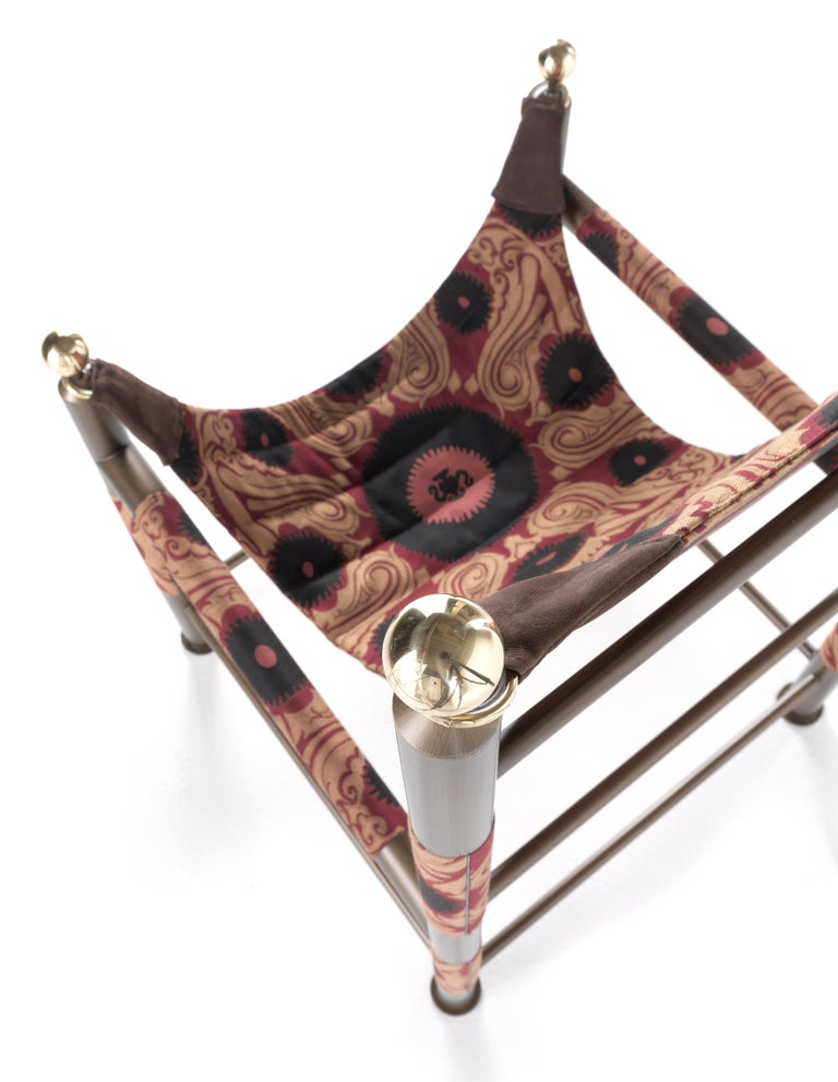 Modern Etro Babel Foldable Travel Chair in Bukhara Fabric and Metal For Sale