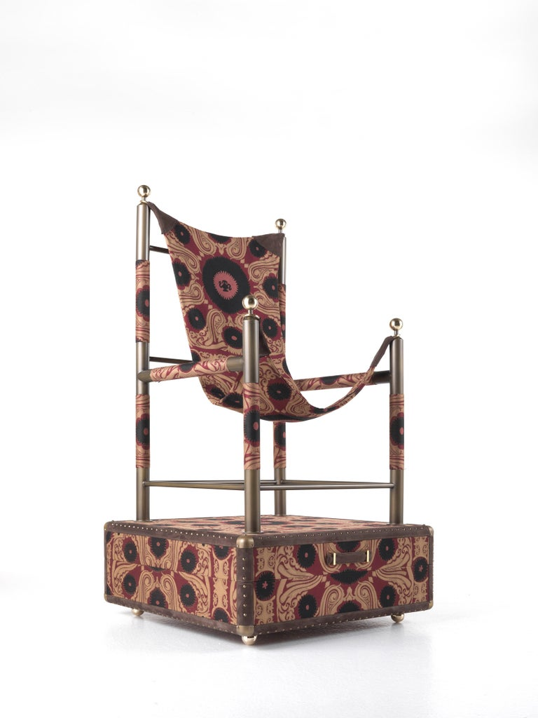 Italian Etro Babel Foldable Travel Chair in Bukhara Fabric and Metal For Sale