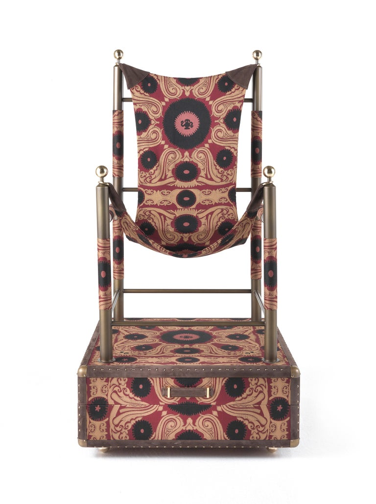 Etro Babel Foldable Travel Chair in Bukhara Fabric and Metal In New Condition For Sale In Cantu, IT