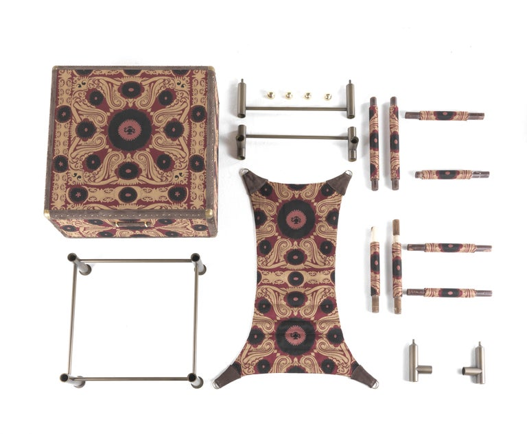 Contemporary Etro Babel Foldable Travel Chair in Bukhara Fabric and Metal For Sale