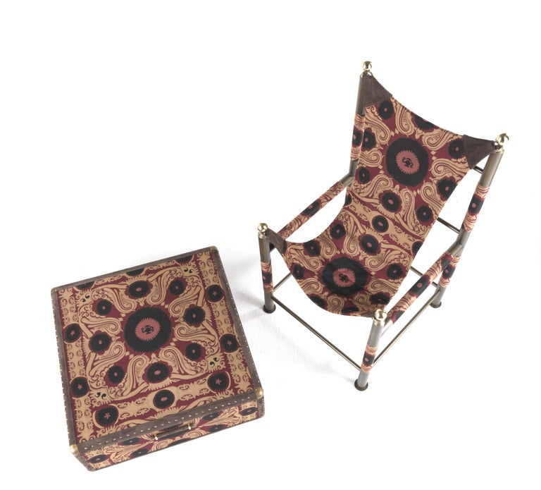Etro Babel Foldable Travel Chair in Bukhara Fabric and Metal For Sale 1