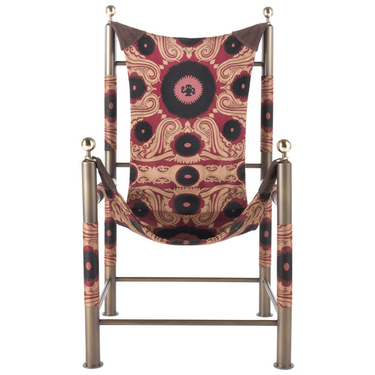 Etro Babel Foldable Travel Chair in Bukhara Fabric and Metal For Sale