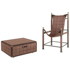 Etro Home Interiors Babel Foldable Travel Chair in Houndstooth Print and Metal
